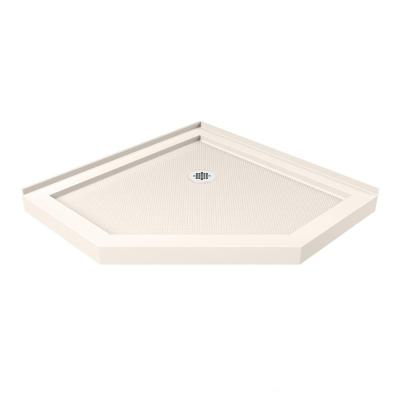 SlimLine 36 in. x 36 in. Neo-Angle Shower Base in Biscuit