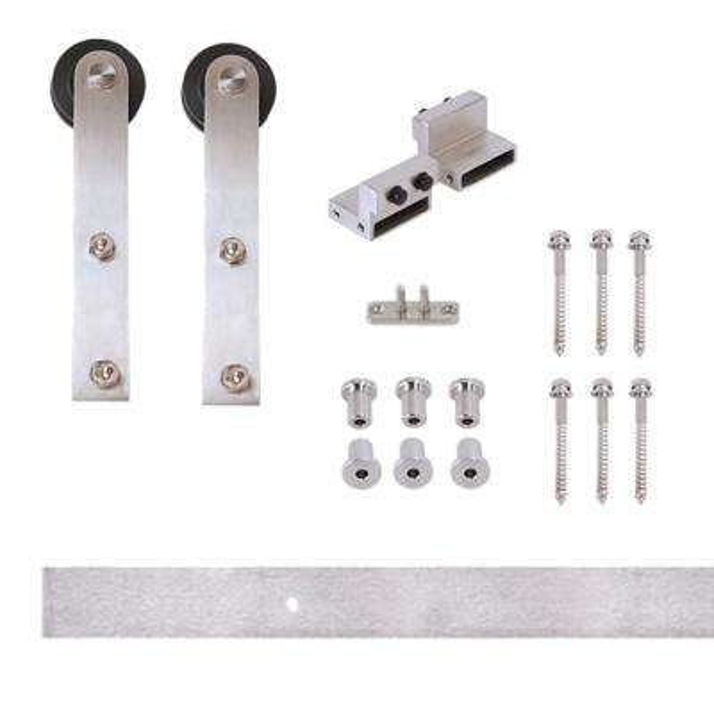 96 in. Stainless Steel Flat Rail Stick Strap Rolling Door Hardware Kit for Wood Door