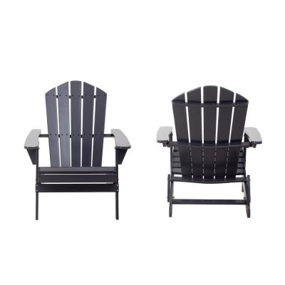 Classic Graphite Gray Folding Wooden Outdoor Adirondack Chair (2-Pack)
