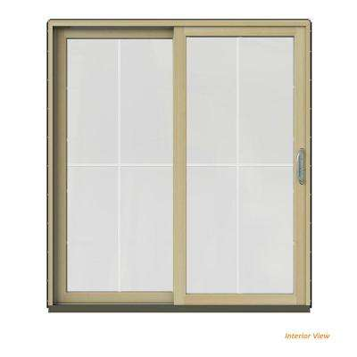 72 in. x 80 in. W-2500 Contemporary Black Clad Wood Left-Hand 4 Lite Sliding Patio Door w/Unfinished Interior