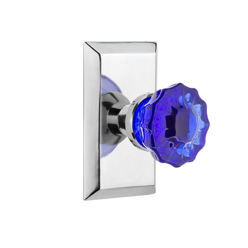 Studio Plate 2-3/8 in. Backset Bright Chrome Privacy Bed/Bath Crystal Cobalt Glass Door Knob