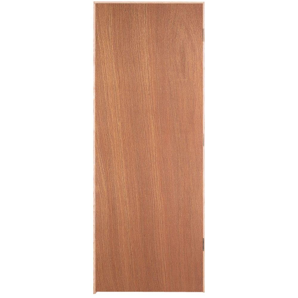 Masonite 28 in. x 80 in. Flush Hardwood Right-Handed Hollow-Core Smooth Lauan Veneer Composite Single Prehung Interior Door