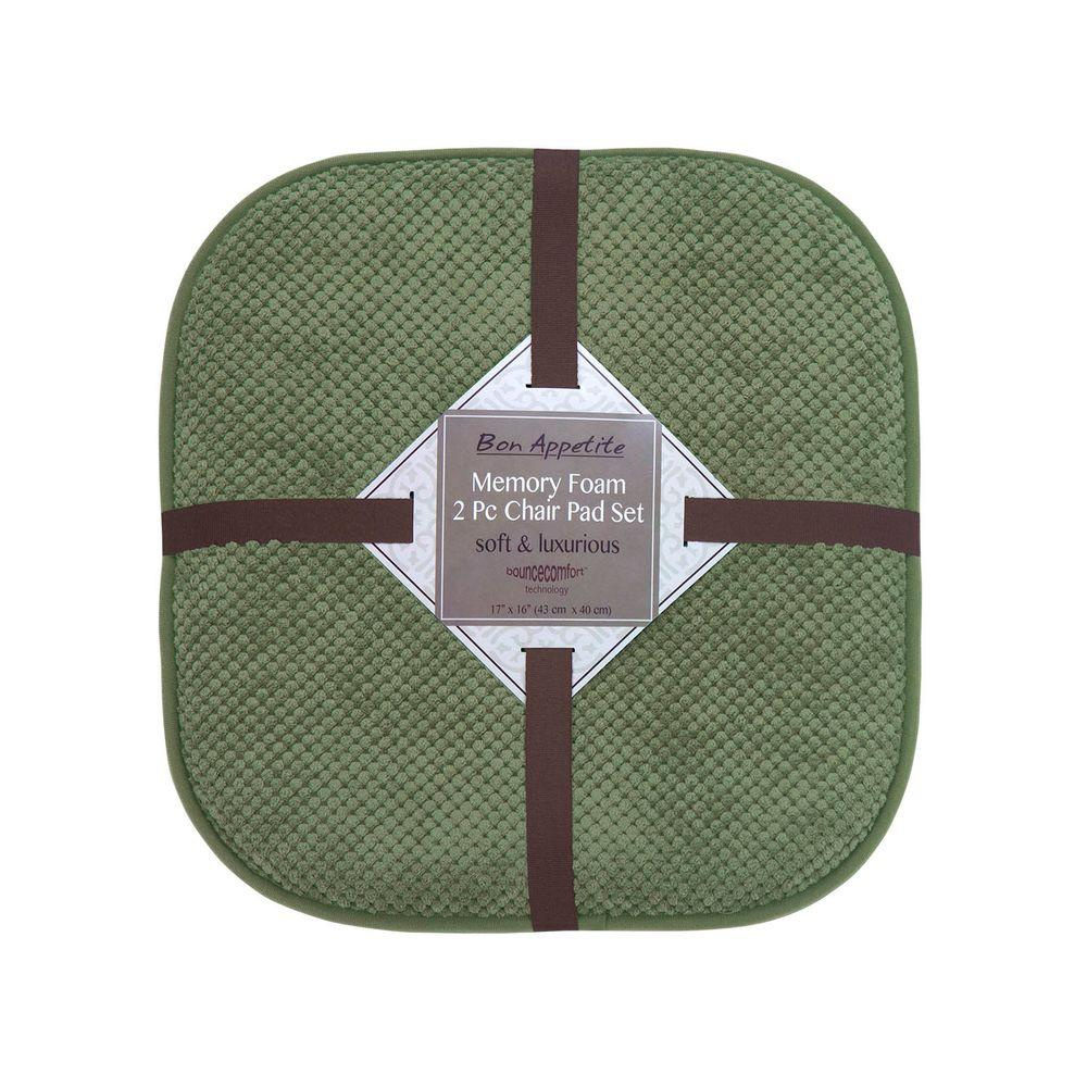 Bon Appetite 16 in. x 17 in. Green Memory Foam Cushioned