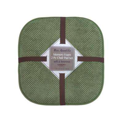 Bon Appetite 16 in. x 17 in. Green Memory Foam Cushioned Chair Pad (2-Pack)