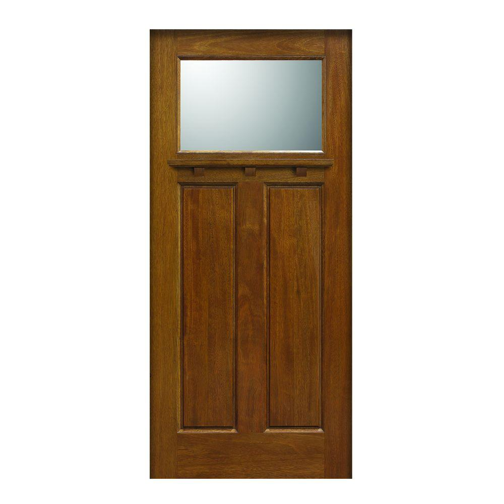 Main Door 36 in. x 80 in. Craftsman Collection 1 Lite Prefinished Walnut Solid Mahogany Type Stained Wood Front Door Slab