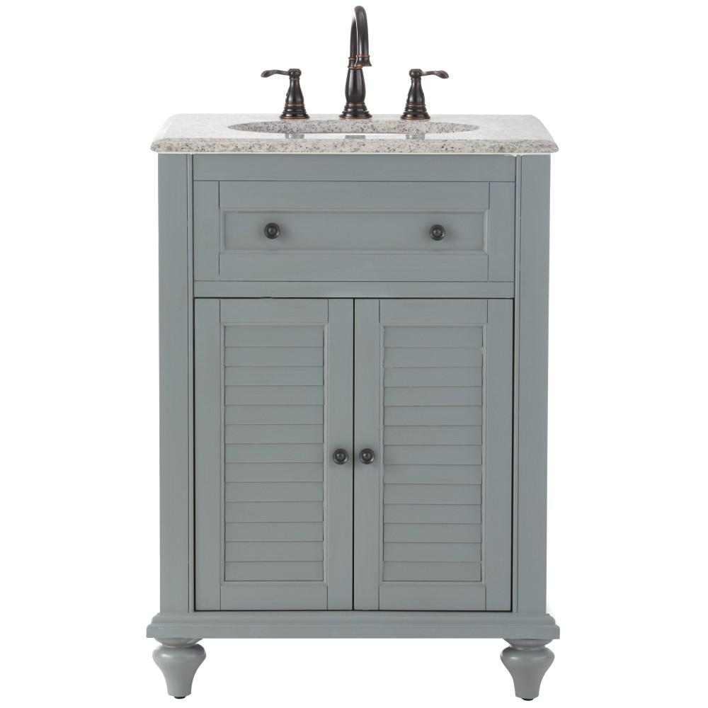 Home Decorators Collection Hamilton Shutter 25 in. W x 22 in. D Bath Vanity in Grey with Granite Vanity Top in Grey