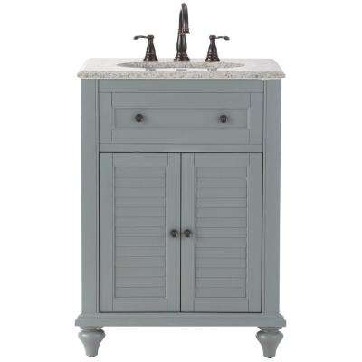 Hamilton Shutter 25 in. W x 22 in. D Bath Vanity in Grey with Granite Vanity Top in Grey