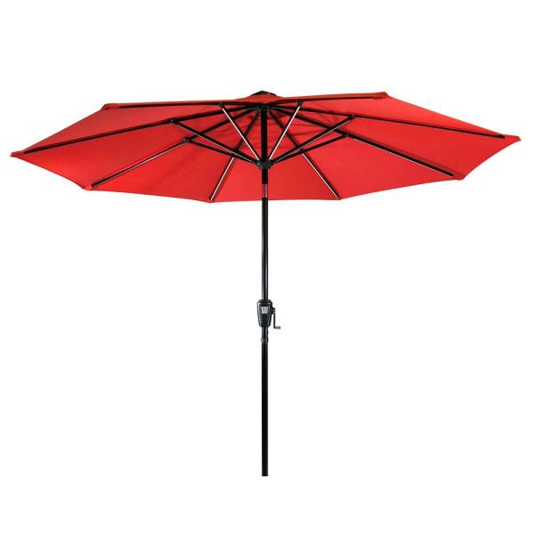 9 ft. Aluminum Market Next Gen Solar Lighted 8-Rib Round Patio Umbrella with Olefin Canopy in Ruby Red