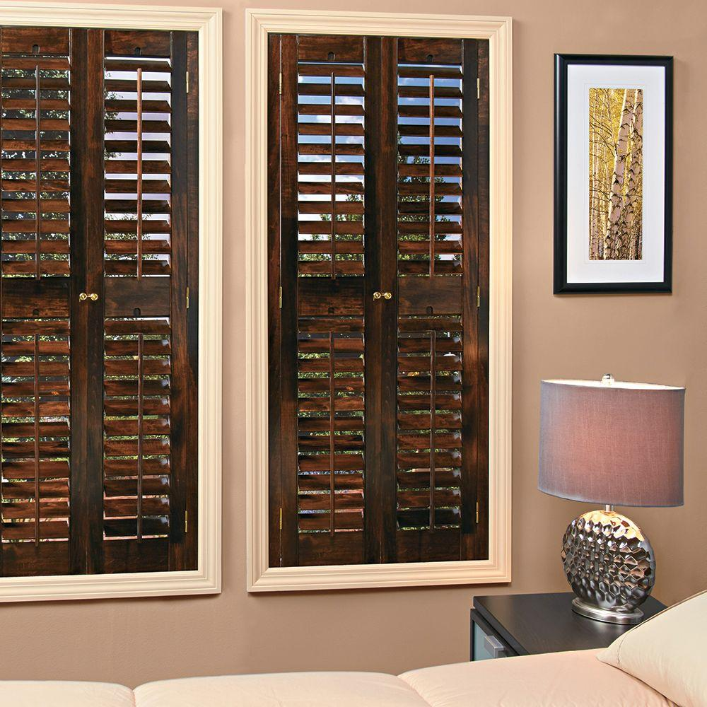wooden shutters interior home depot homebasics plantation walnut real wood interior shutters 26252