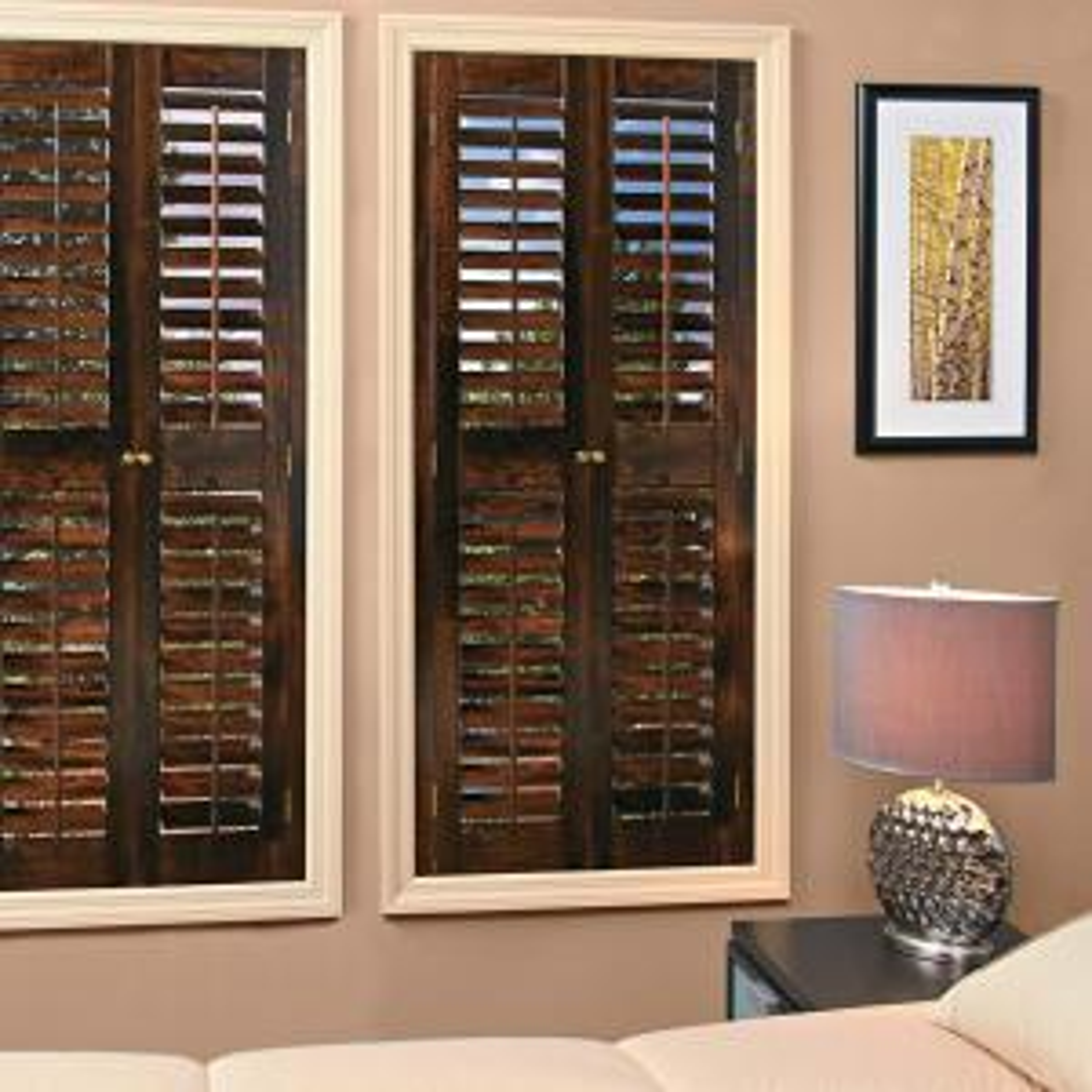 Homebasics Plantation Walnut Real Wood Interior Shutters Price Varies By Size Qspc3548 The
