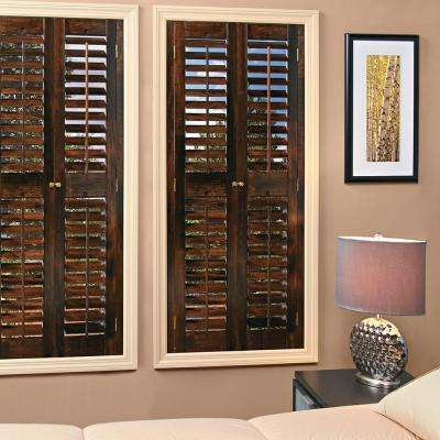 Interior Plantation Shutters Home Depot wonderful wooden sunburst shutters with wooden blinds for home ideas Plantation Walnut Real Wood Interior Shutters Price Varies By Size