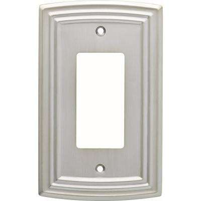 Emery Decorative Single Rocker Switch Cover, Satin Nickel