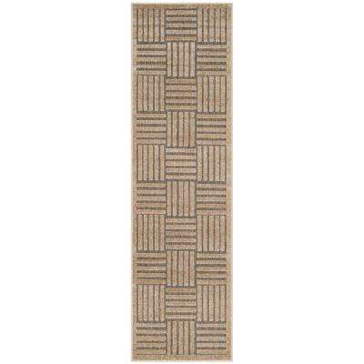 Cottage Gray/Beige 2 ft. x 8 ft. Indoor/Outdoor Runner Rug