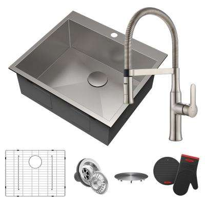 Pax All-in-One Drop-In Stainless Steel 25 in. 1-Hole Single Bowl Kitchen Sink with Commercial Faucet in Stainless Steel
