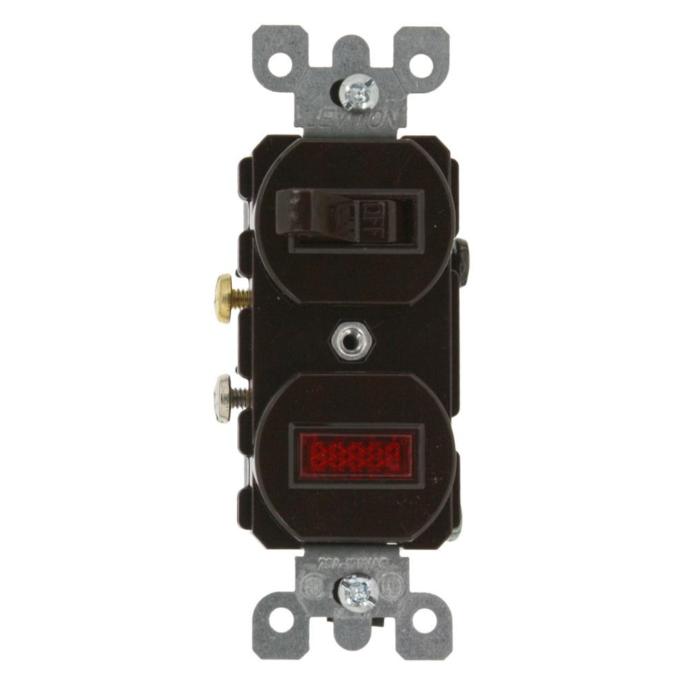 Leviton 20 Amp Commercial Grade Combination Single Pole Toggle Switch And Neon Pilot Light