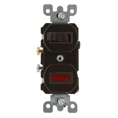 20 Amp Commercial Grade Combination Single Pole Toggle Switch and Neon Pilot Light, Brown