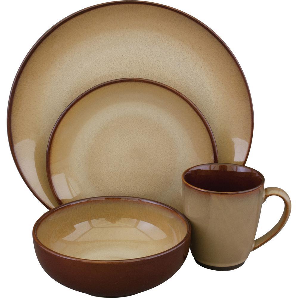 Sango Nova Dinnerware Set In Brown (16 Piece)