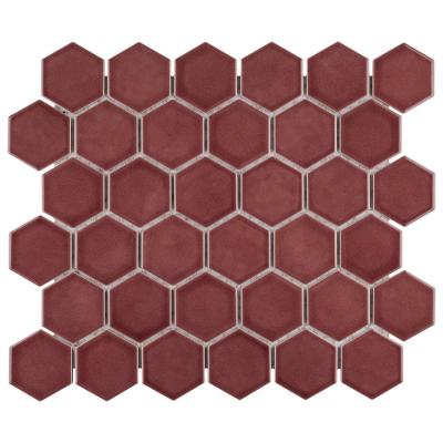 Tribeca 2 in. Hex Glossy Rusty Red 11-1/8 in. x 12-5/8 in. Porcelain Floor and Wall Mosaic Tile (9.96 sq. ft./Case)