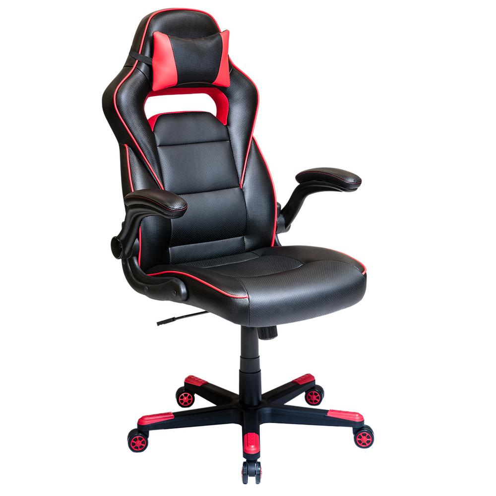 Techni mobili black and red office chair with detachable headrest pillow and flip up arms