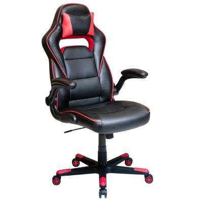 Black and Red Office Chair with Detachable Headrest Pillow and Flip Up Arms