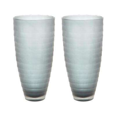 Matte Cut Glass Decorative Vases in Gray Smoke (Set of 2)