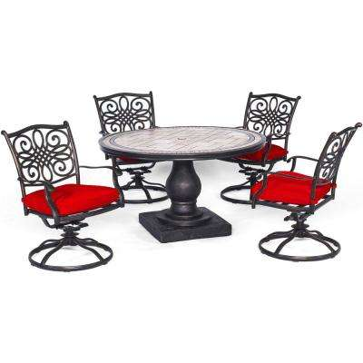 Monaco 5-Piece Aluminum Outdoor Dining Set with 4 Swivel Rockers and Red Cushions