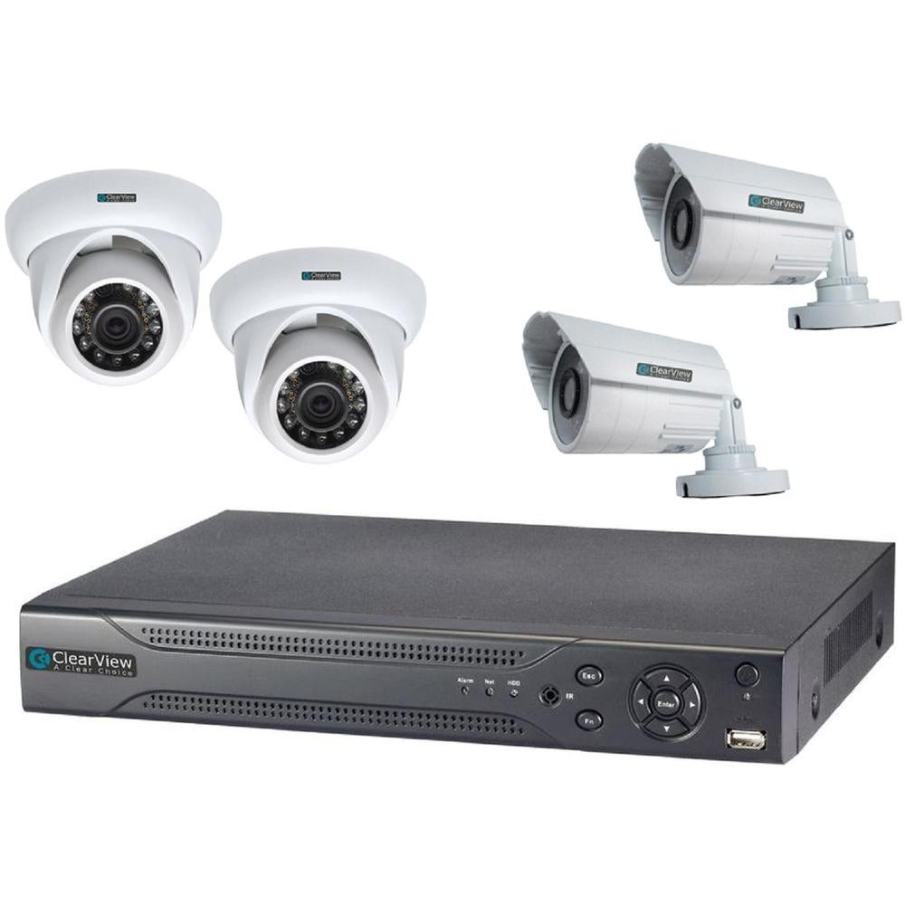 Wired Indoor Weatherproof 4-Channel Hawk View DVR Kit with 2 Dome