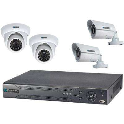Wired Indoor Weatherproof 4-Channel Hawk View DVR Kit with 2 Dome and 2 Bullet Camera