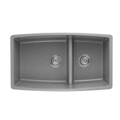 Performa Undermount Granite Composite 33 in. 1-3/4 Double Bowl Kitchen Sink in Metallic Gray