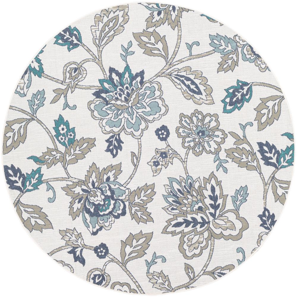 Artistic Weavers Felix White 8 ft. 9 in. x 8 ft. 9 in. Round Floral Indoor/Outdoor Area Rug
