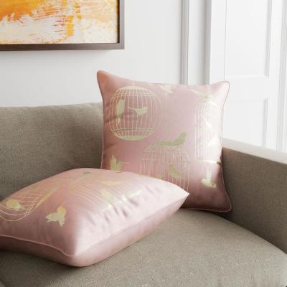 Birds Light Pink Decorative Pillow (Set of 2)