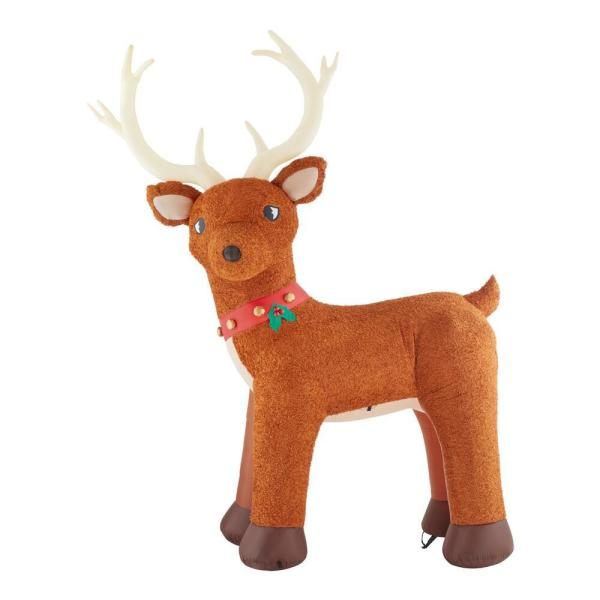 10.5 ft. Pre-Lit LED Giant-Sized Inflatable Fuzzy Standing Reindeer