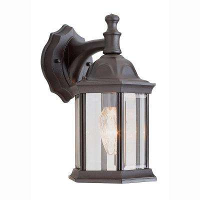 Pentagon 1-Light Outdoor Black Coach Lantern with Clear Glass