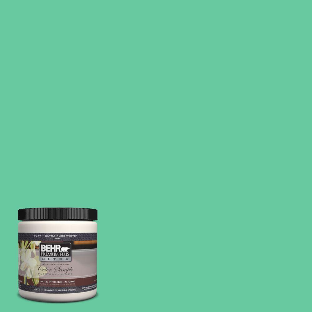 BEHR Premium Plus Ultra 8 oz. #470B-4 Intense Jade Interior/Exterior Paint Sample