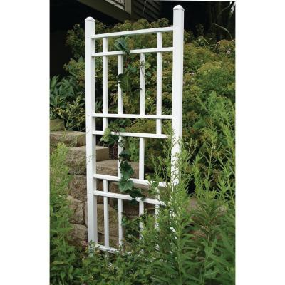 75 in. x 28 in. White Vinyl PVC Wellington Trellis