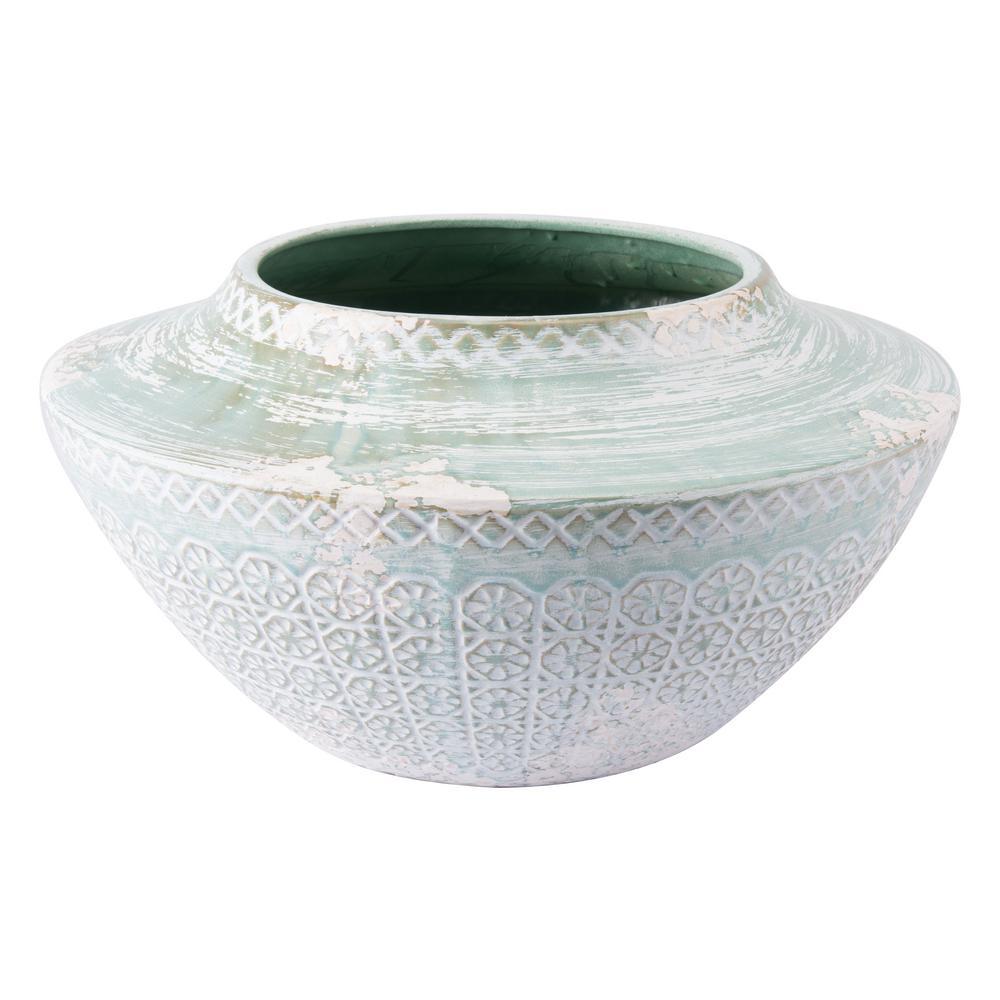 Oma 18.7 in. W x 9.4 in. H Green Ceramic Planter