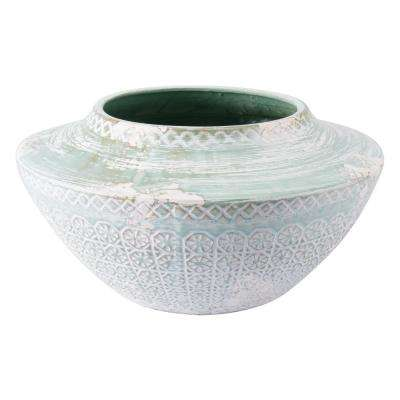 Oma 18.7 in. W x 9.4 in. H Green Ceramic Planter