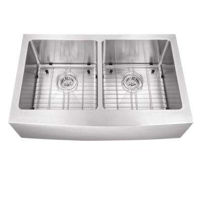 Farmhouse Apron Front Stainless Steel 32-7/8 in. 50/50 Double Bowl Kitchen Sink