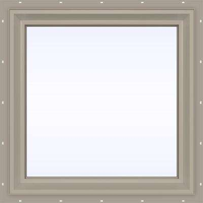 23.5 in. x 23.5 in. V-2500 Series Desert Sand Vinyl Picture Window w/ Low-E 366 Glass