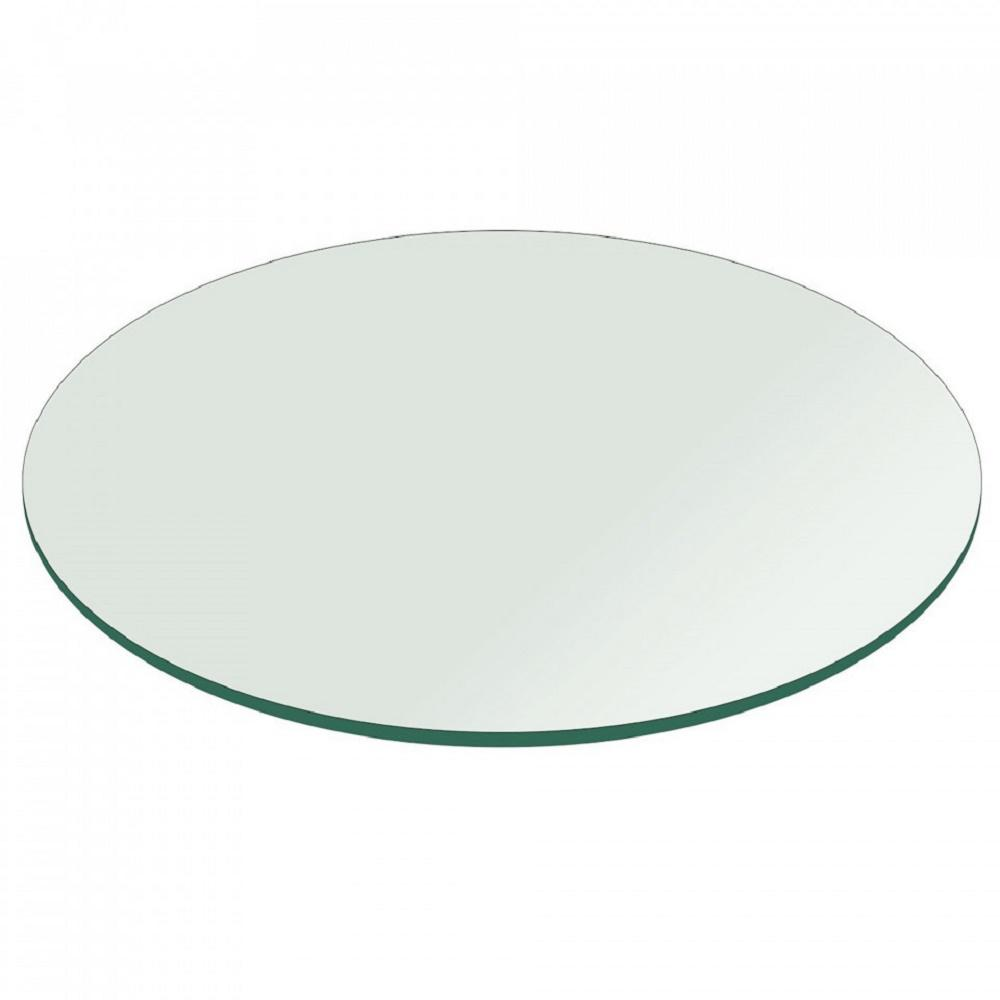 Fab Glass And Mirror 36 In Clear Round Table Top 3 8 Thickness Tempered Flat Edge Polished 36RT10THFLTE0