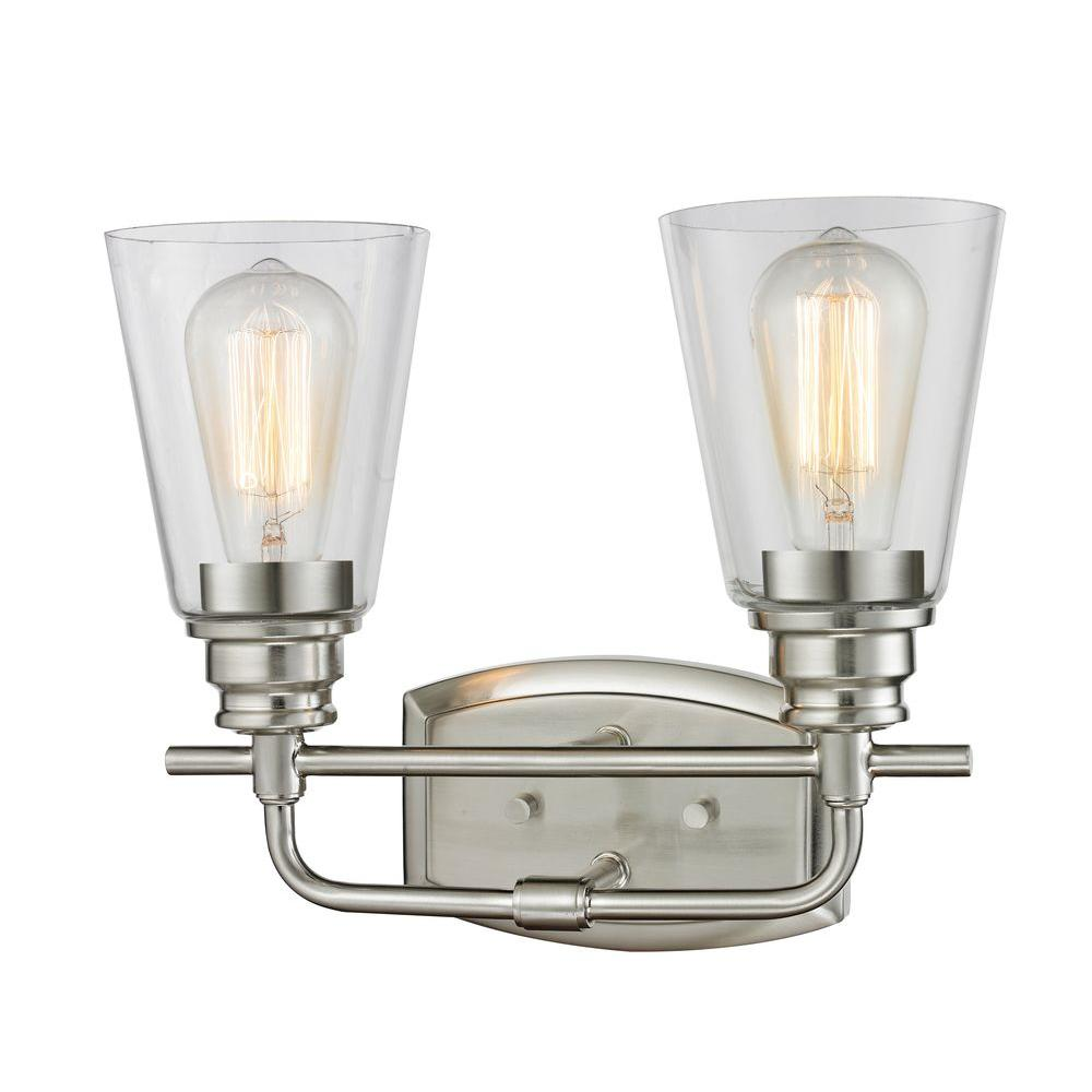 traditional bathroom lighting fixtures. Filament Design Nina 2-Light Brushed Nickel Steel Contemporary Bath Light With Clear Glass Shades Traditional Bathroom Lighting Fixtures