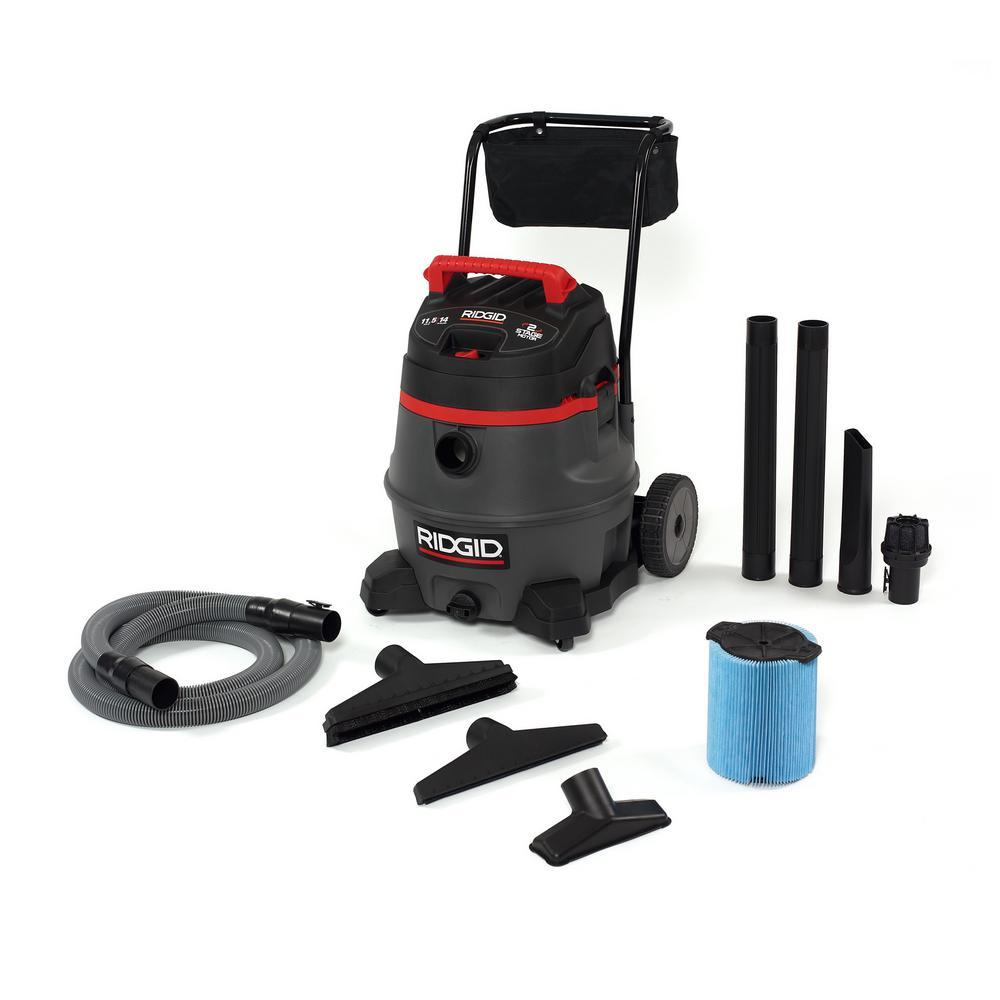 RIDGID 11 gal Smart Cart Wet Dry Vacuum Cleaner Built In Accessory Storage