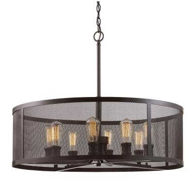 Mesh 8-Light Oil Rubbed Bronze Pendant with Metal Shade