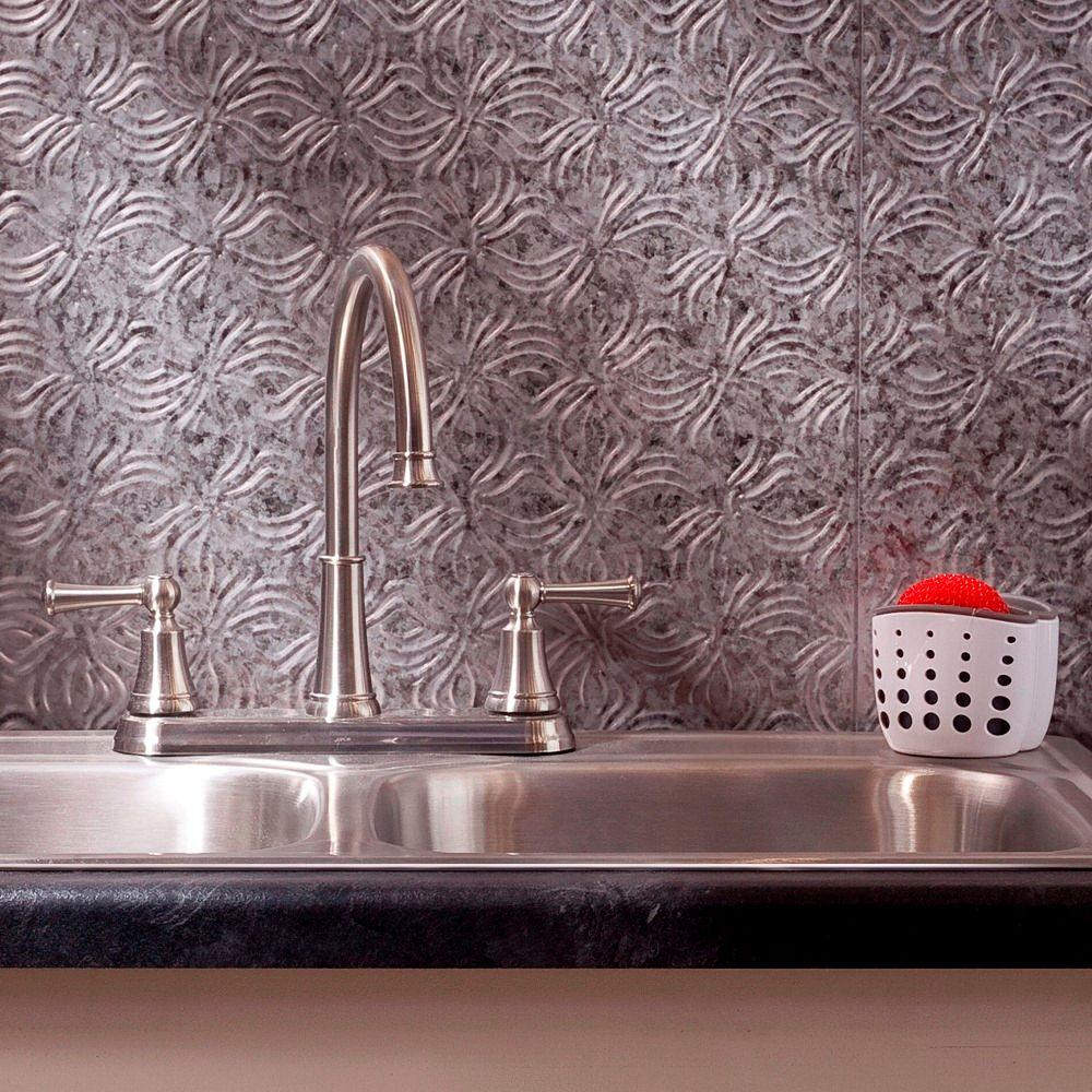 Fasade 24 in. x 18 in. Lotus PVC Decorative Tile Backsplash in Galvanized Steel