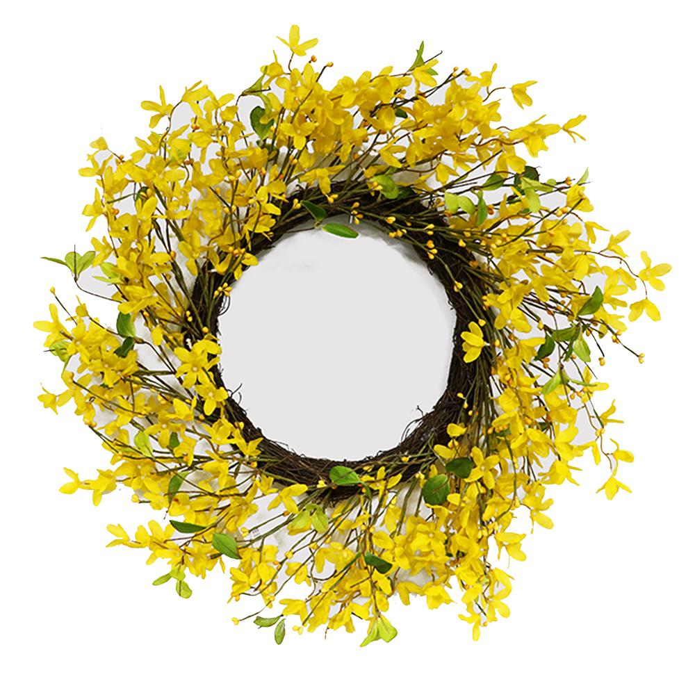 22 in wreath with yellow jasmine 305 dw8297 22 the home depot wreath with yellow jasmine izmirmasajfo