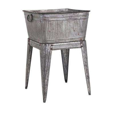 32 in. Gray Iron Multi-Functional Galvanized Metal Tub on Stand