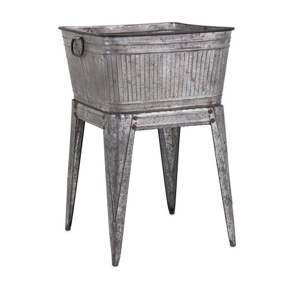 Benzara 32 in. Gray Iron Multi-Functional Galvanized Metal Tub on Stand