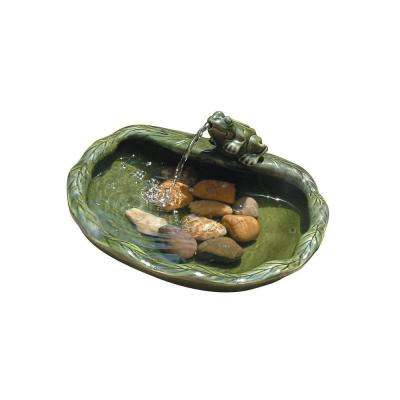 Glazed Green Ceramic Solar Frog Fountain