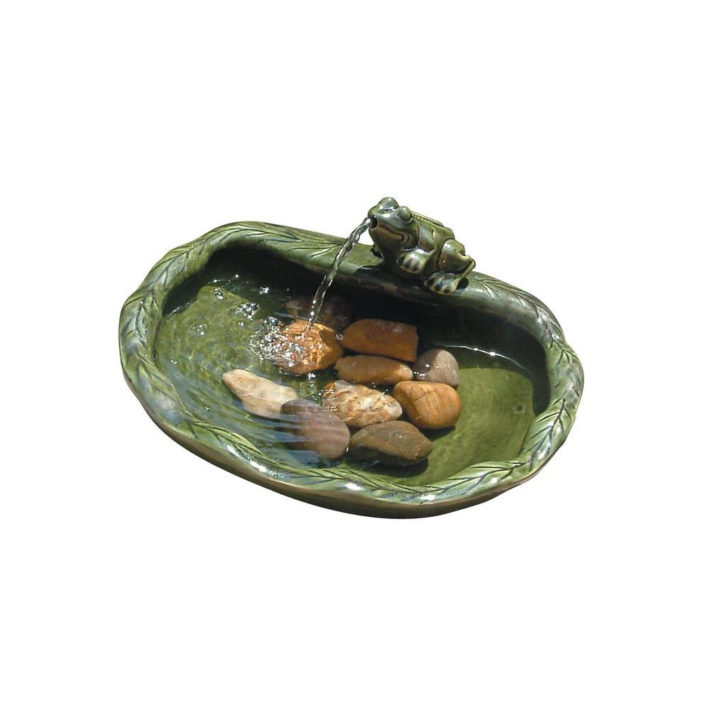 Smart Solar Glazed Green Ceramic Frog Fountain