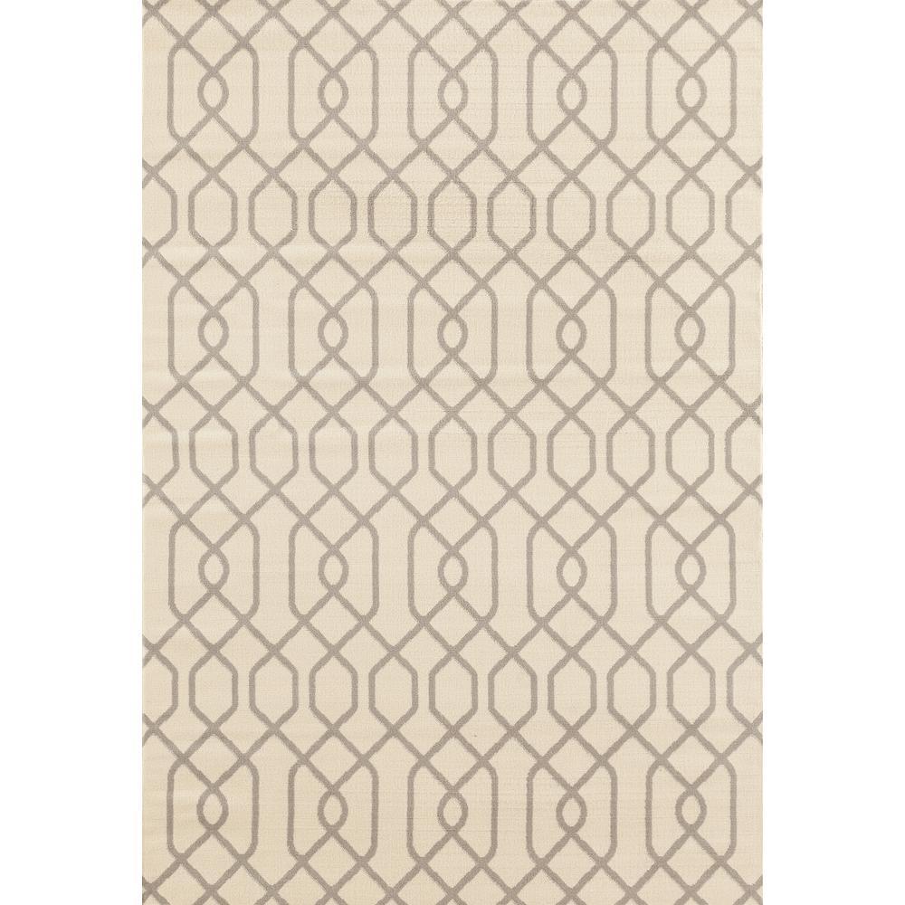 Modern Trellis Pattern Cream 5 ft. x 7 ft. Area Rug